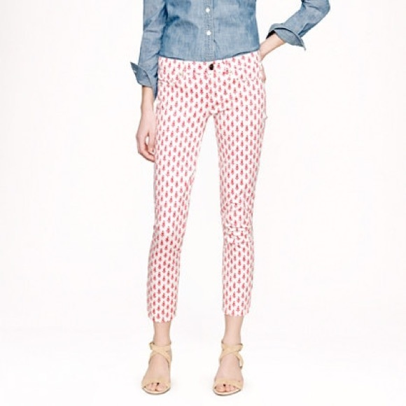 J.Crew Cropped Matchstick Jeans in Thistle Print